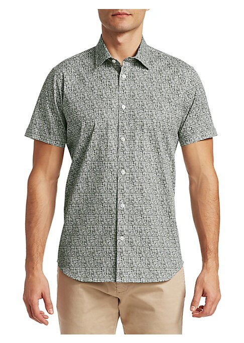 """Image of EXCLUSIVELY OURS. Button-down shirt in muted crosshatch print. Spread collar. Short sleeves. Button front. Shirttail hem. Slim fit. About 28"""" from shoulder to hem. Cotton/lycra. Machine wash. Imported."""