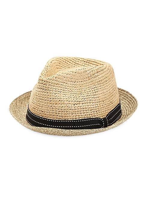 "Image of EXCLUSIVELY OURS. Contrast ribbon adorns woven raffia fedora.11""W x 12""L.Paper straw. Made in Italy."