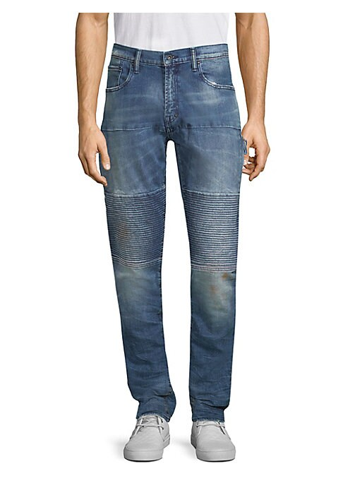 """Image of Cotton-blend skinny fit jeans with ribbed detailing on knees. Belt loops. Zip fly with button closure. Five-pocket style. Rise, about 10"""".Inseam, about 33"""".Leg opening, about 13"""".Cotton/elastane. Machine wash. Imported."""