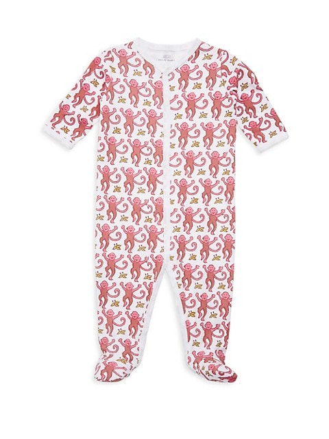 Baby Girl's Monkey Cotton Footie