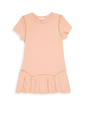 Image of .Fine cutout details enhance the look of this dress. .Roundneck. .Short sleeves. .Pleated hem. .Cotton/modal. .Machine wash. .Imported.