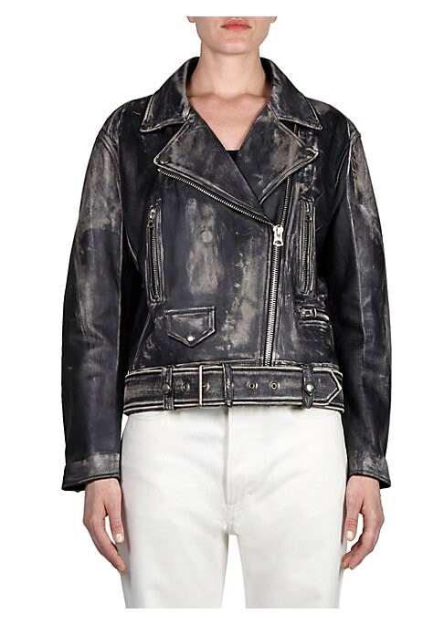 """Image of Beaten-look leather jacket with belted waist. Notch collar. Long sleeves. Exposed front zip. Front zip pockets. Faux buttoned flap pocket. Belted waist. Silvertone hardware. About 22"""" from shoulder to hem. Leather. Dry clean. Imported. Model shown is 5'10"""