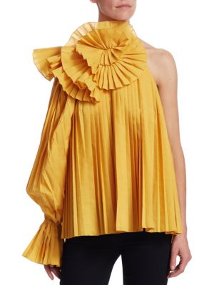 ROSIE ASSOULIN Pleated One-Shoulder Escargot Blouse in Yellow