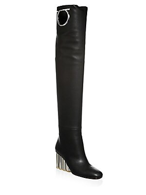783c56fc1c6 Fendi - Rockoko Thigh High Leather   Sock Boots - saks.com