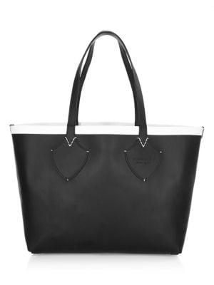Medium Reversible Bonded Check/Leather Shoulder Tote Bag, Black/ White