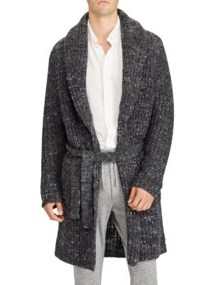 "Image of Luxurious cardigan in a warming wool-blend. Shawl collar. Long sleeves. Self-tie waist. About 36"" from shoulder to hem. Wool/acrylic/alpaca. Hand wash. Imported."