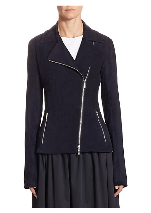 """Image of Classic jacket in asymmetric zip front style. Notch lapels. Long sleeves. Zip cuffs. Exposed front zip. Waist zip pockets. Lined. About 24"""" from shoulder to hem. Suede/cotton. Dry clean. Made in USA. Model shown is 5'10"""" (177cm) wearing US size 4."""
