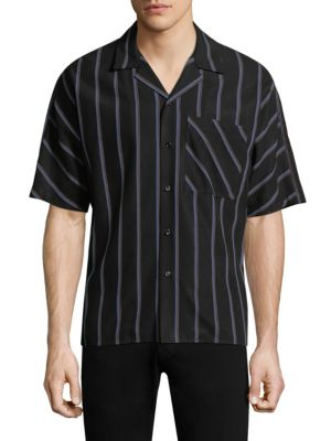 SOLID HOMME Striped Button-Down Shirt in Black