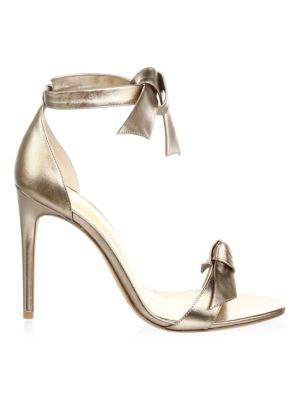 Clarita Metallic Leather Ankle-Tie Sandal in Gold
