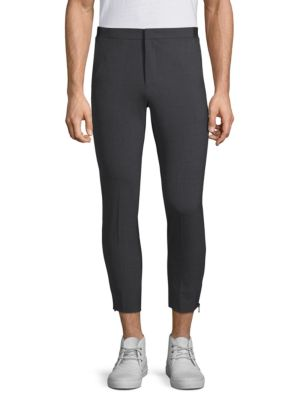 SOLID HOMME Skinny Ankle Zip Trousers in Grey
