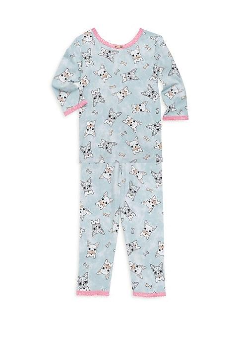 Girls Bulldog Print Pajama Set