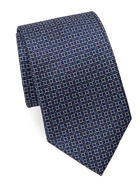 """Image of Chain-inspired geometric print tie in luxe silk.3"""" wide. Silk. Dry clean. Made in Italy."""