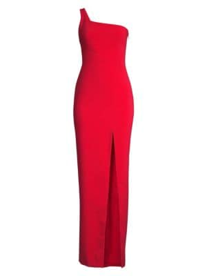 LIKELY Camden One-Shoulder Gown W/ Slit in Scarlet