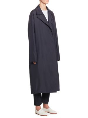 Dundi Notched-Lapel Belted Silk Coat in Navy