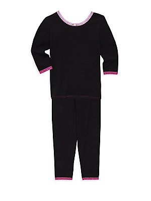 Image of Simple pajama set with colorful lace trim. Cotton/modal/spandex. Machine wash. Made in USA. Top Scoopneck Long sleeves Pullover style Pants Elasticized waist Pull-on style. Children's Wear - Layette Apparel And Acce. Esme. Color: Black. Size: 5.