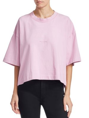 Cylea Cropped Printed Cotton T-Shirt in Baby Pink
