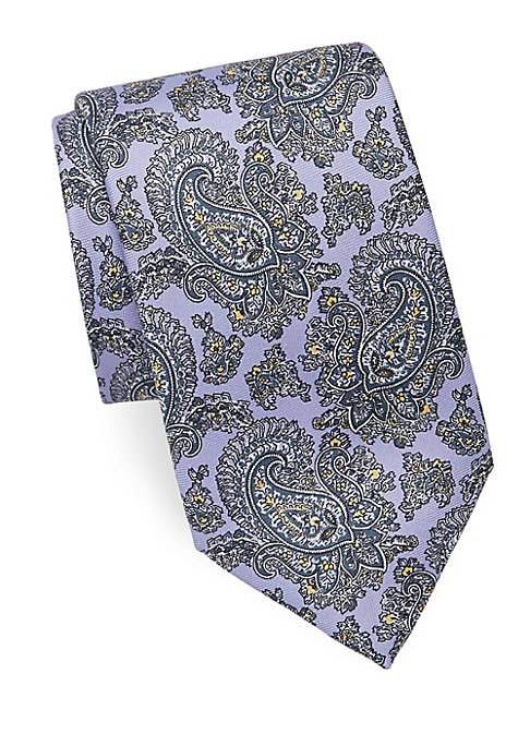 "Image of Outlined paisley print pops against bright silk. About 3"" wide. Silk. Dry clean. Made in Italy."