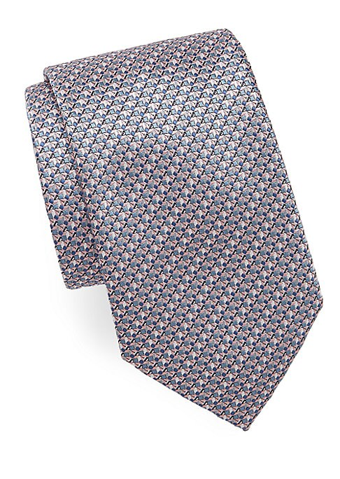 """Image of Abstract geometric printed tie with unique texture.3"""" wide. Silk. Dry clean. Made in Italy."""
