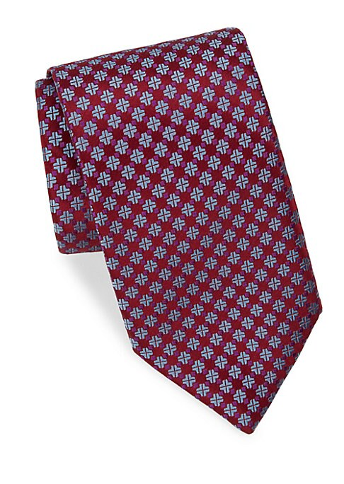 """Image of Classic silk tie enhanced with an allover medallion design.3"""" wide. Silk. Dry clean. Made in France."""