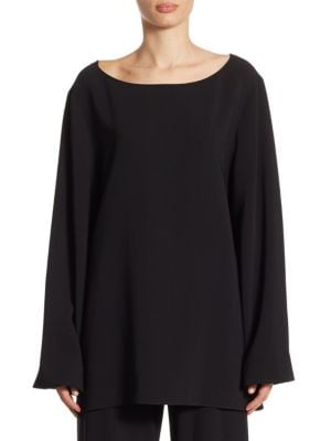 "Image of Silk-blend top. Boatneck. Long sleeves. Pullover style. About 30"" from shoulder to hem. Silk/elastane. Dry clean. Made in USA. Model shown is 5'10"" (177cm) wearing size Small."