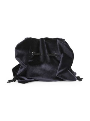 "Image of Drawstring pouch with ruffle accents in rich velvet. Two side cord handles, drop 8.5"".Drawstring cord top close.8.5"" H X 8"" W x 3"" D.Velvet. Made in Italy."