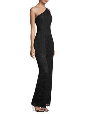 7a68af8bb86 Laundry By Shelli Segal One Shoulder Lace Jumpsuit In Black ...