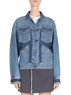 Raw Edge Patchwork Denim Jacket In Blue