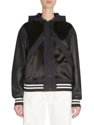 Faux-Leather-Sleeve Varsity Jacket, Navy