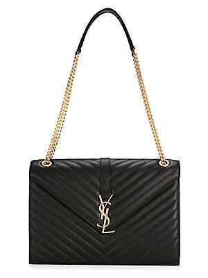 Saint Laurent - Large Monogram Matelasse Leather Chain Shoulder Bag ... 4bbb5a447f
