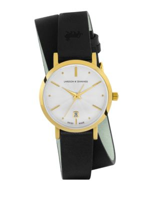 LARSSON & JENNINGS Lugano Stainless Steel Leather Wrap Strap Watch in Black