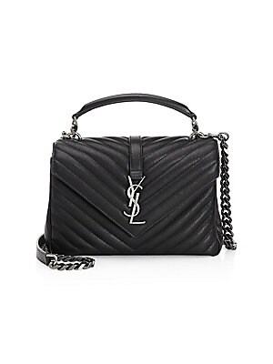 dba6b0da3cc9 Saint Laurent - Large College Monogram Matelasse Leather Shoulder ...