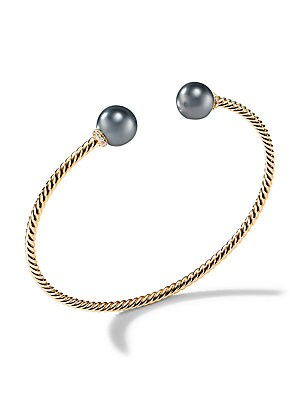 "Image of 18K yellow gold bracelet with Tahitian grey pearl accents 18K yellow gold Cultured Tahitian grey pearl Width, 0.10"" (2.6mm) Made in Italy. David Yurman - David Yurman Gold > Saks Fifth Avenue. David Yurman. Color: Yellow Gold."