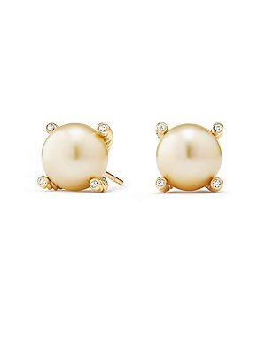 "Image of 18K yellow gold pearl earrings with pave diamonds 18K yellow gold Diamond, 0.04 tcw Golden pearl Post back Diameter, 0.25"" Made in USA. David Yurman - David Yurman Gold > Saks Fifth Avenue. David Yurman. Color: Yellow Gold."