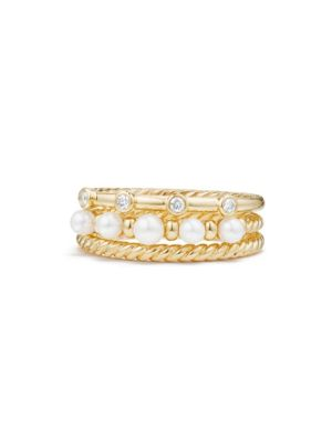 Petite Perle Narrow Multi Row Ring With Cultured Freshwater Pearls And Diamonds In 18K Gold in Yellow Gold