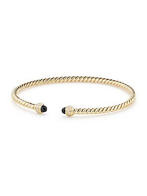 "Image of 18K yellow gold spiral bracelet with diamond accents. 18K yellow gold Diamond, 0.074 tcw 3mm Made in Italy SIZE Length, about 6.25"". David Yurman - David Yurman Gold > Saks Fifth Avenue. David Yurman. Color: Black Onyx. Size: M."