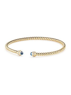 "Image of 18K yellow gold spiral bracelet with diamond accents. 18K yellow gold Diamond, 0.074 tcw 3mm Made in Italy SIZE Length, about 6.25"". David Yurman - David Yurman Gold > Saks Fifth Avenue. David Yurman. Color: Hampton Blue Topaz. Size: M."