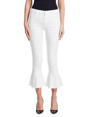The Cha Cha Fray Cropped Flared Jeans In Glass Slipper