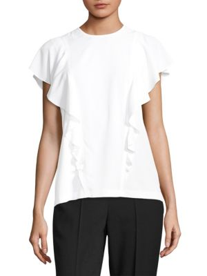 """Image of Stretch jersey top trimmed with feminine ruffles. Round neck. Short flutter sleeves. Ruffled trim. Pull-on style. About 25.25"""" from shoulder to hem. Polyester/elastane. Dry clean. Imported. Model shown is 5'10"""" (177cm) wearing US size 4."""