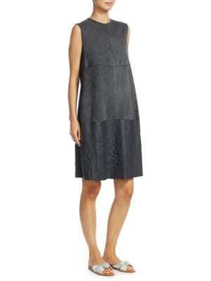 Fabiana Filippi Leathers Suede Shift Dress with Leather Detail