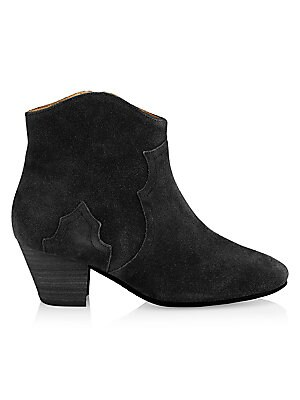 """Image of From the Saks IT LIST THE COWBOY BOOT Pair this versatile must-have with flowing skirts, jeans and more. Classic western stitching and heel with side zip Stacked heel, 2.25"""" (55mm) Suede upper Almond toe Side zip closure Leather sole Padded insole Made in"""