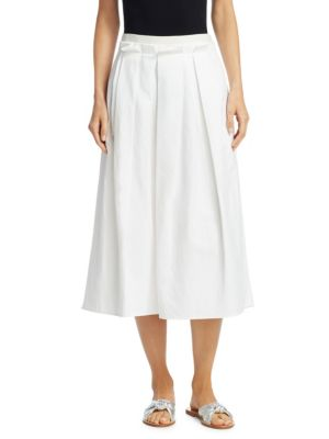 """Image of Delicate pleats adorn classic skirt silhouette. Banded waist. Concealed side zip. Box pleats. Side pockets. About 32"""" long. Cotton/linen. Dry clean. Made in Italy. Model shown is 5'10"""" (177cm) wearing US size 4."""