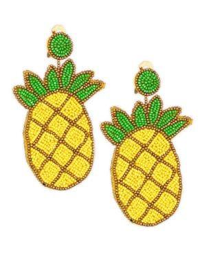 Kenneth Jay Lane  Pineapple Seedbead Clip-On Earrings