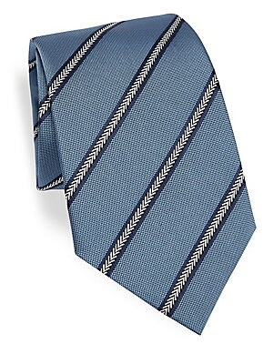 Image of Graphic arrow stripes cover luminous silk tie Width, 3.5 Silk Dry clean Made in Italy. Men Luxury Coll - Armani Neckwear. Emporio Armani. Color: Soft Blue.