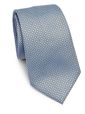 "Image of Mini-grid pattern adorns silk tie Width, 3.5"" Silk Dry clean Made in Italy. Men Luxury Coll - Armani Neckwear. Emporio Armani. Color: Soft Blue."