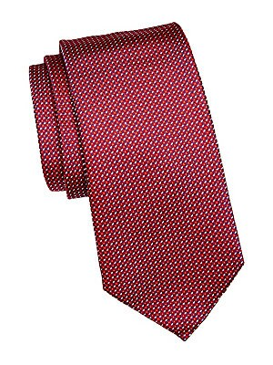 "Image of Essential silk tie with an allover contrasting pattern 3.5"" wide Lined Mulberry silk Dry clean Made in Italy. Men Luxury Coll - Armani Neckwear. Emporio Armani. Color: Red."