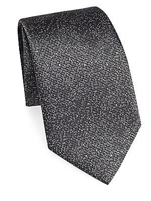 "Image of Classic tie in luxurious silk Silk 3.5"" Made in Italy. Men Luxury Coll - Armani Neckwear. Emporio Armani. Color: Black."