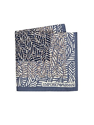 Image of Stylish silk handkerchief in tropical palm print 13W x 13L Silk Dry clean Made in Italy. Men Luxury Coll - Armani Neckwear. Emporio Armani. Color: Royal Blue.