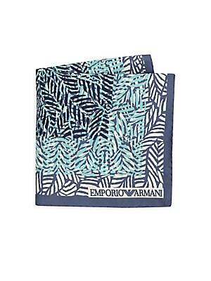 Image of Stylish silk handkerchief in tropical palm print 13W x 13L Silk Dry clean Made in Italy. Men Luxury Coll - Armani Neckwear. Emporio Armani. Color: Blue.