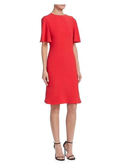 """Image of Draped crepe dress with deep V-back detail. Roundneck. Elbow-length sleeves. Concealed back zip. About 35"""" from shoulder to hem. Viscose/elastane. Dry clean. Made in USA. Model shown is 5'10"""" (177cm) wearing US size 4."""