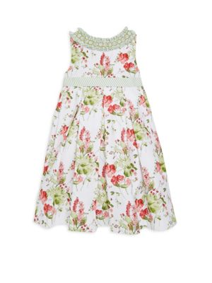 Babys Toddlers  Little Girls Floral Dress With Ruffled Collar